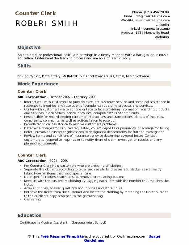 Counter Clerk Resume Sample