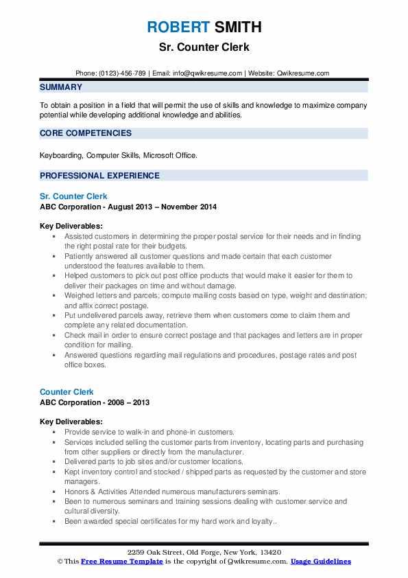 Sr. Counter Clerk Resume Format
