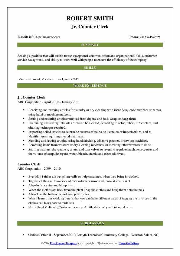 Jr. Counter Clerk Resume Example