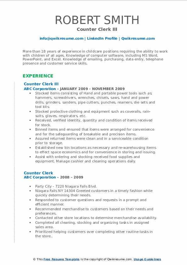 Counter Clerk III Resume Format