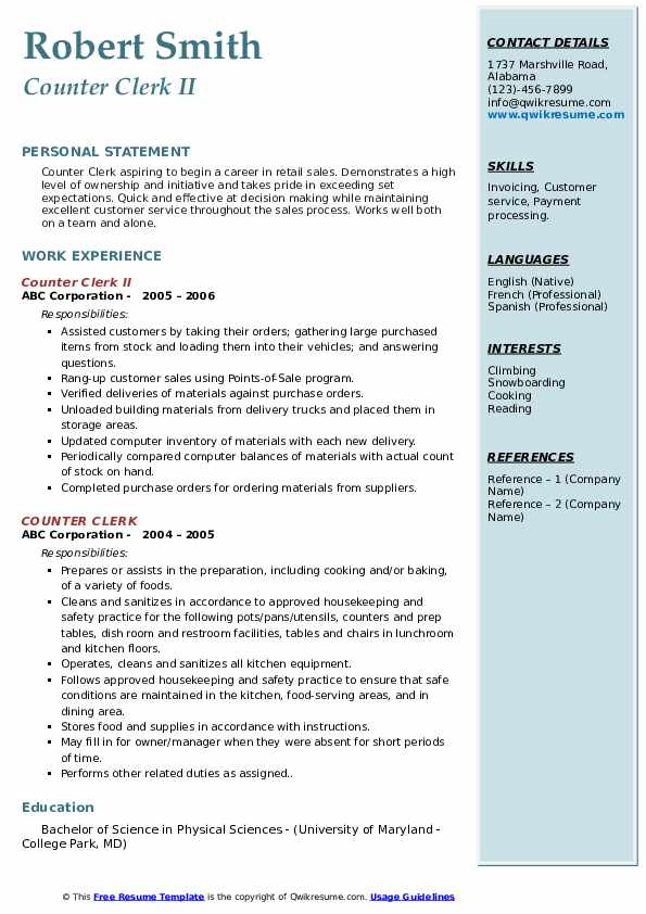 Counter Clerk II Resume Example