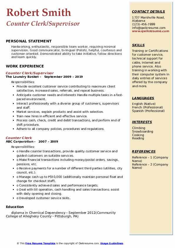 Counter Clerk/Supervisor Resume Example