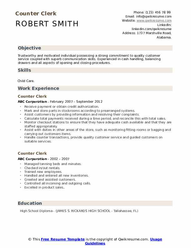 Counter Clerk Resume example