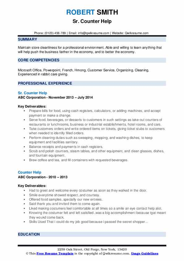Sr. Counter Help Resume Template