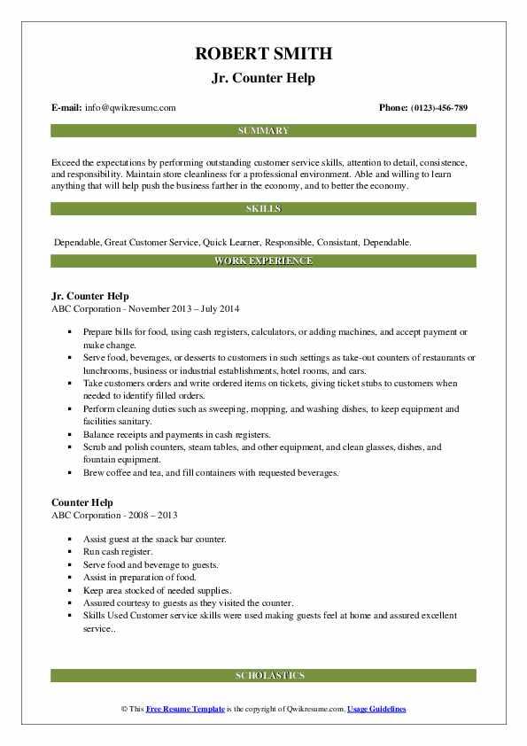 Jr. Counter Help Resume Format