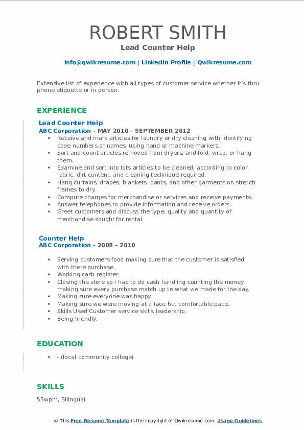 Lead Counter Help Resume Model