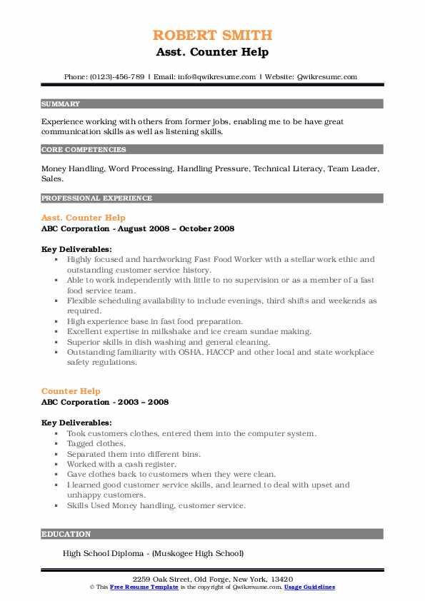 Asst. Counter Help Resume Format
