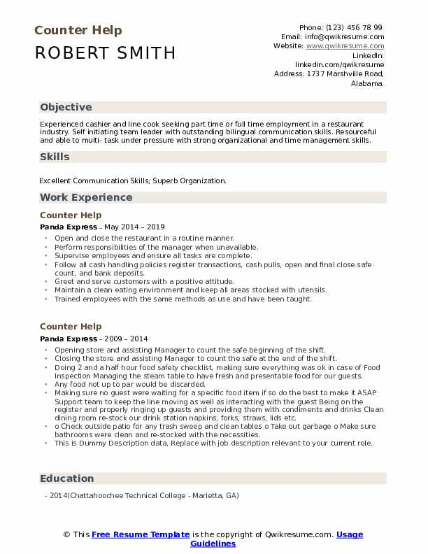 Counter Help Resume example