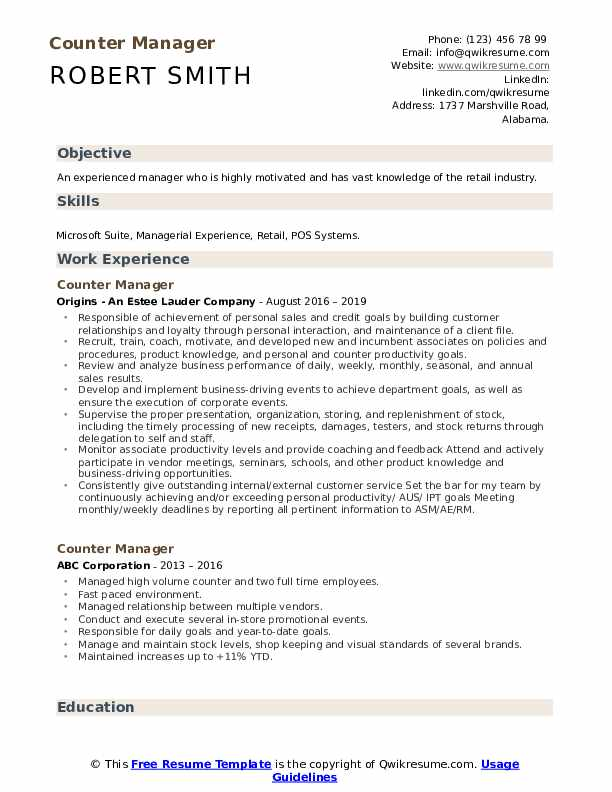 Counter Manager Resume Template