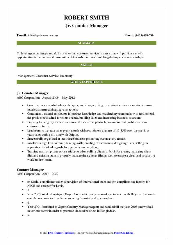Jr. Counter Manager Resume Sample