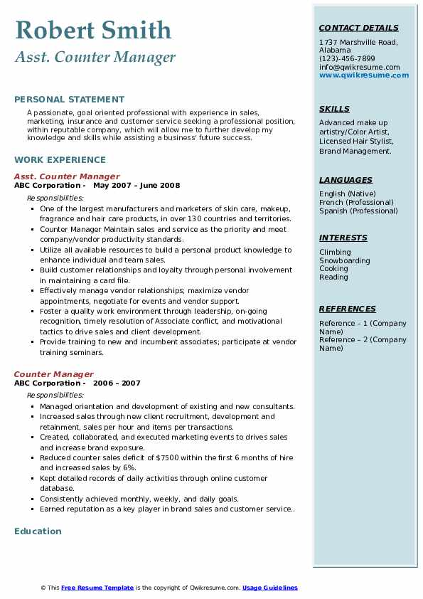 Asst. Counter Manager Resume Format