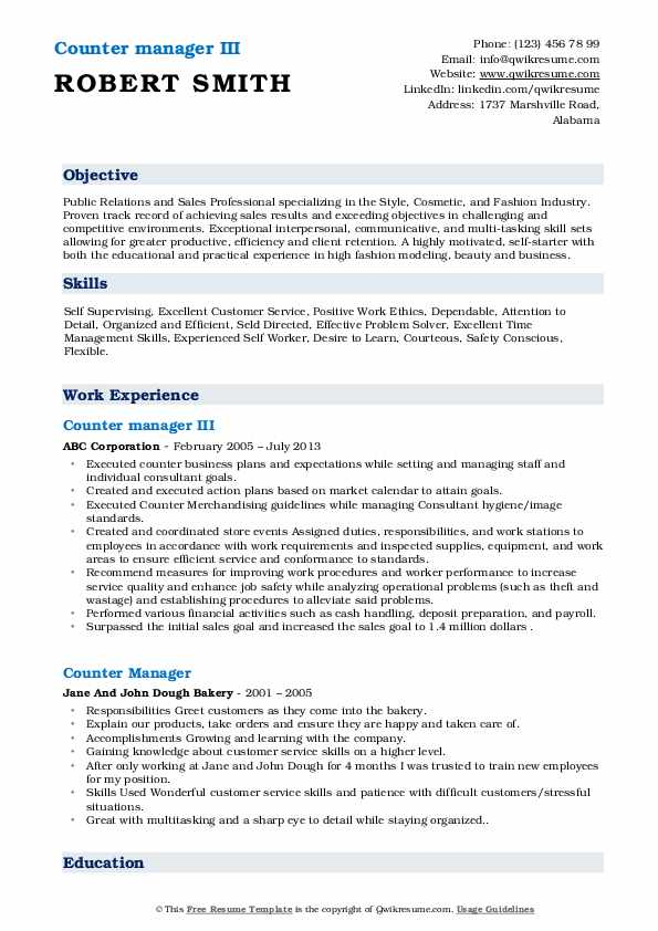 Counter manager III Resume Model