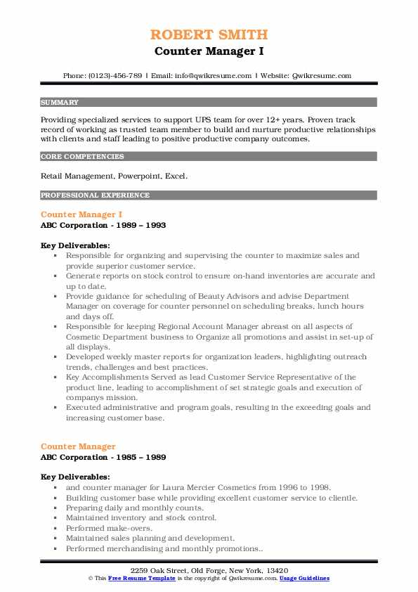 Counter Manager I Resume Format