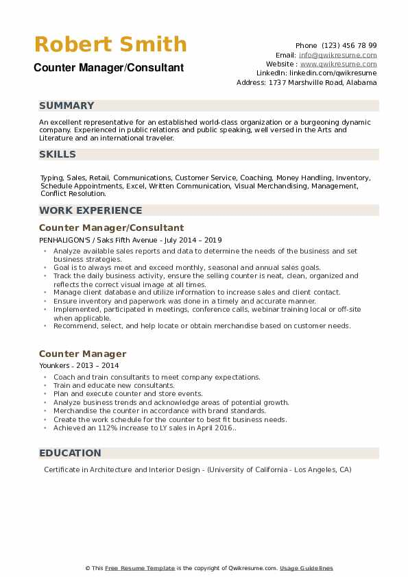 Counter Manager/Consultant Resume Sample