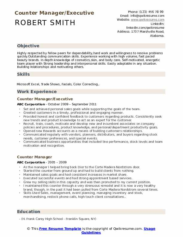 Counter Manager/Executive Resume Template