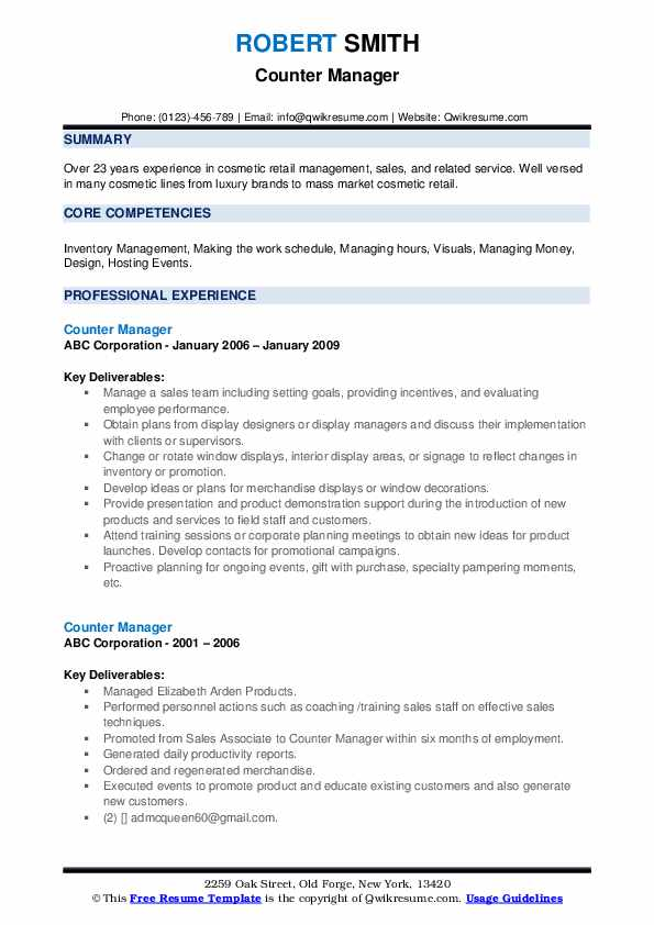 Counter Manager Resume example