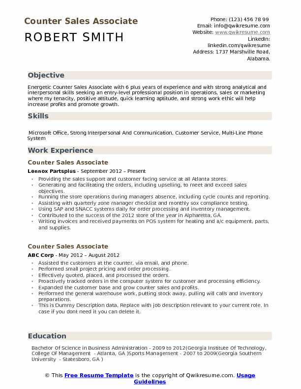 Counter Sales Associate  Resume Template