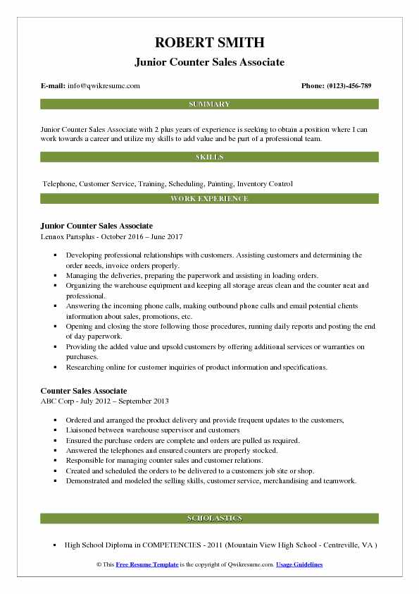 Junior Counter Sales Associate Resume Example