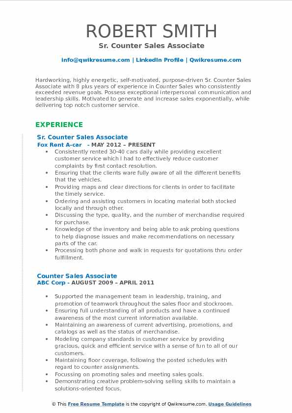 Sr. Counter Sales Associate Resume Template