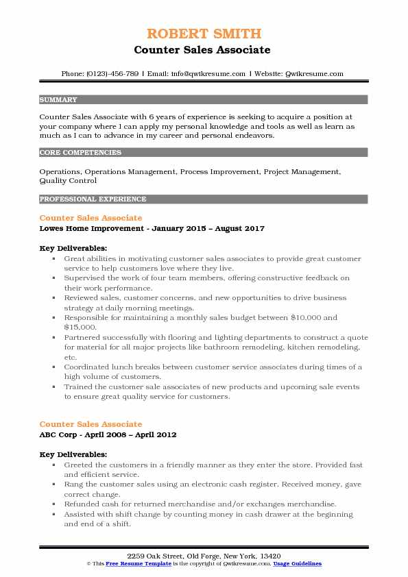 Counter Sales Associate  Resume Model