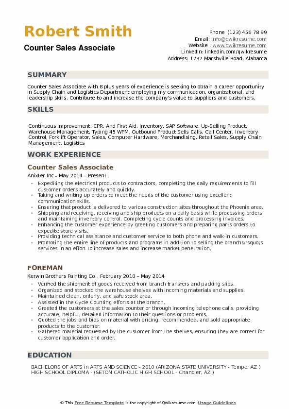 Counter Sales Associate Resume example