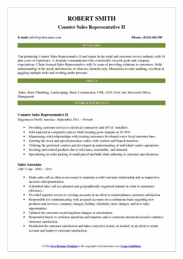 Counter Sales Representative Resume Samples Qwikresume