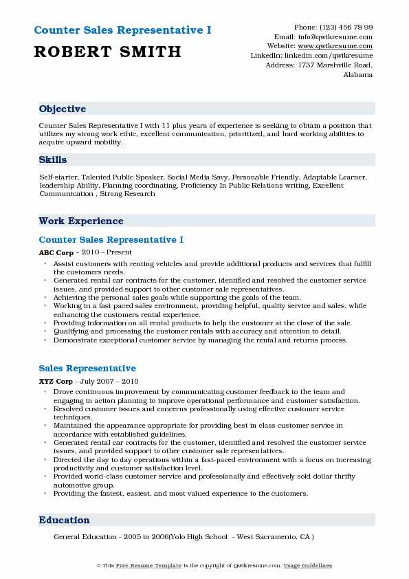 Counter Sales Representative I Resume Model