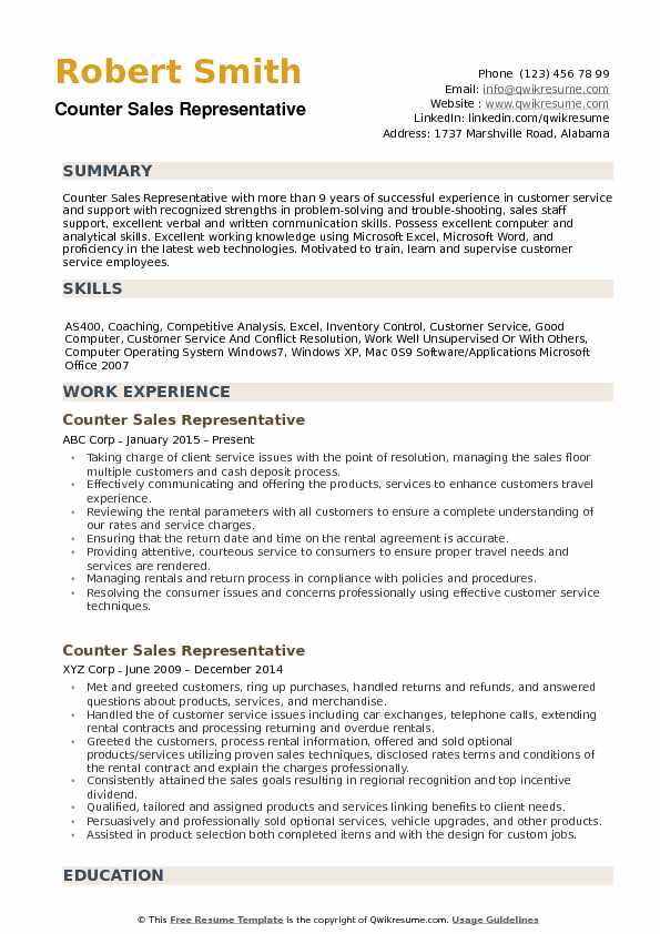 counter sales representative resume samples