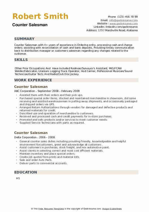 Counter Salesman Resume example