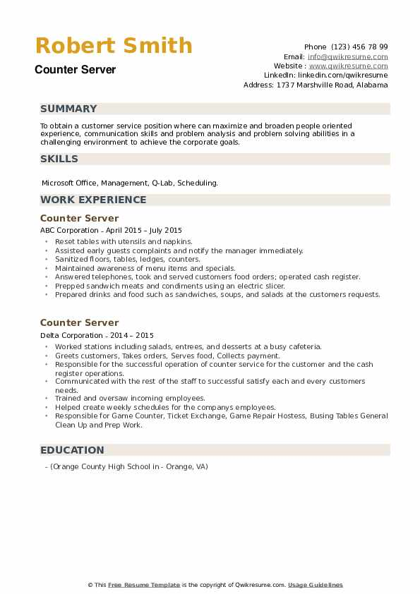 Counter Server Resume example