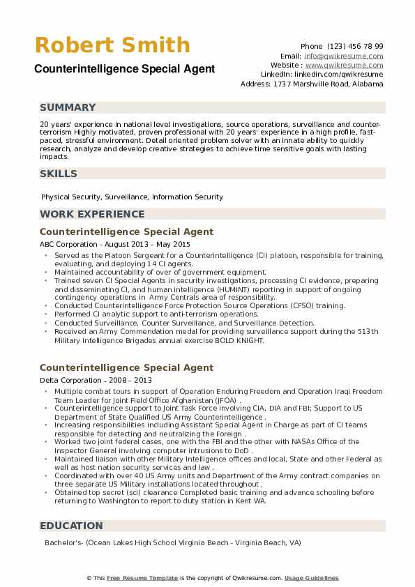 Counterintelligence Special Agent Resume example