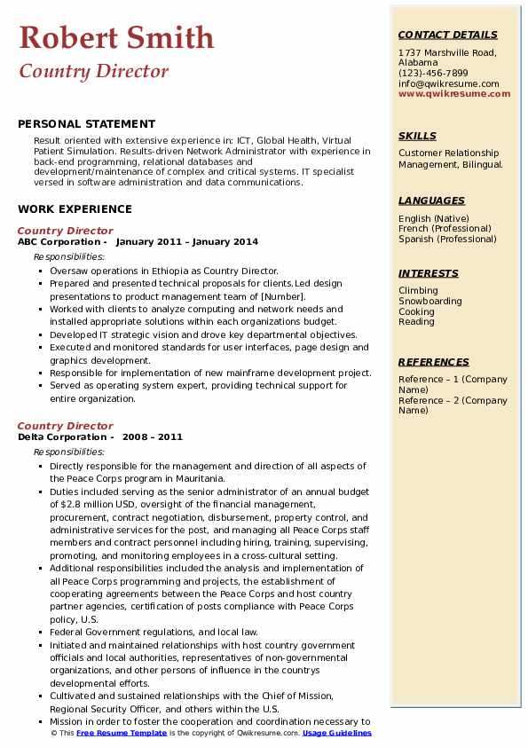 Country Director Resume example