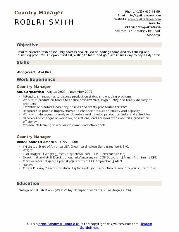 Country Manager Resume example