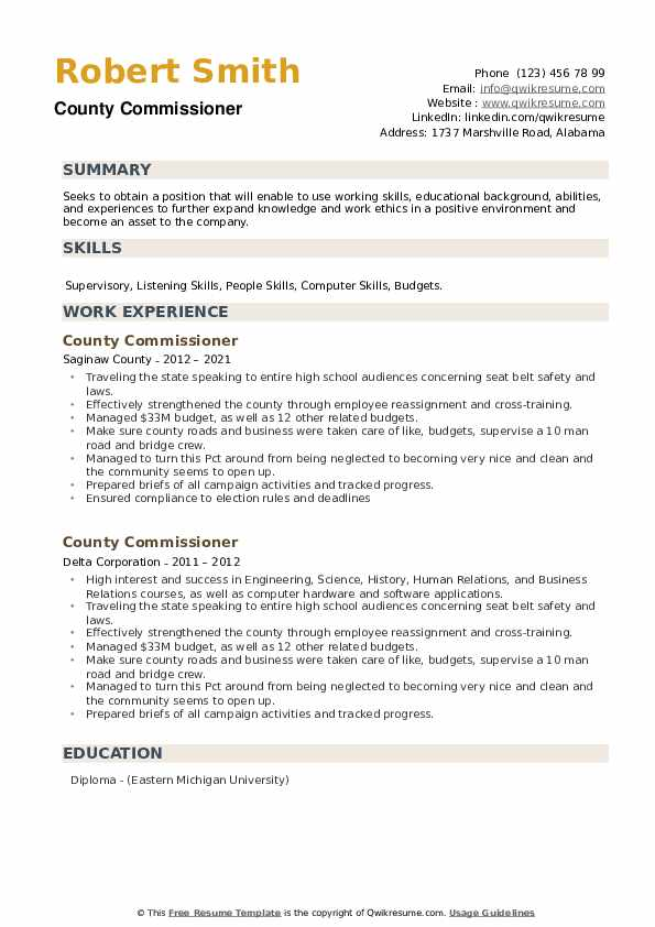 County Commissioner Resume example