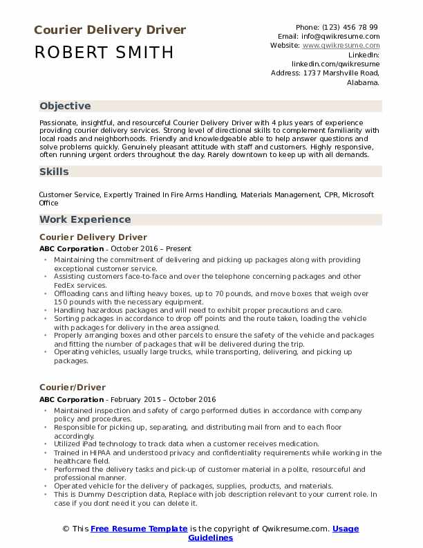 Courier Resume Samples | QwikResume