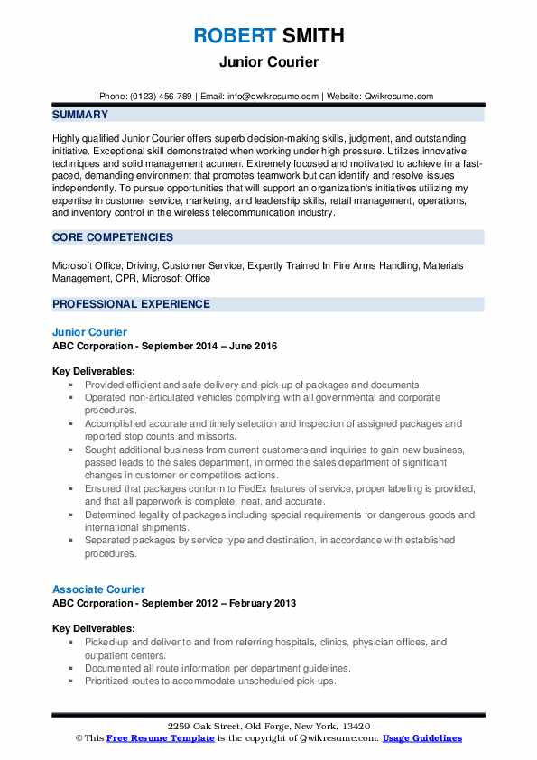 Junior Courier Resume Template