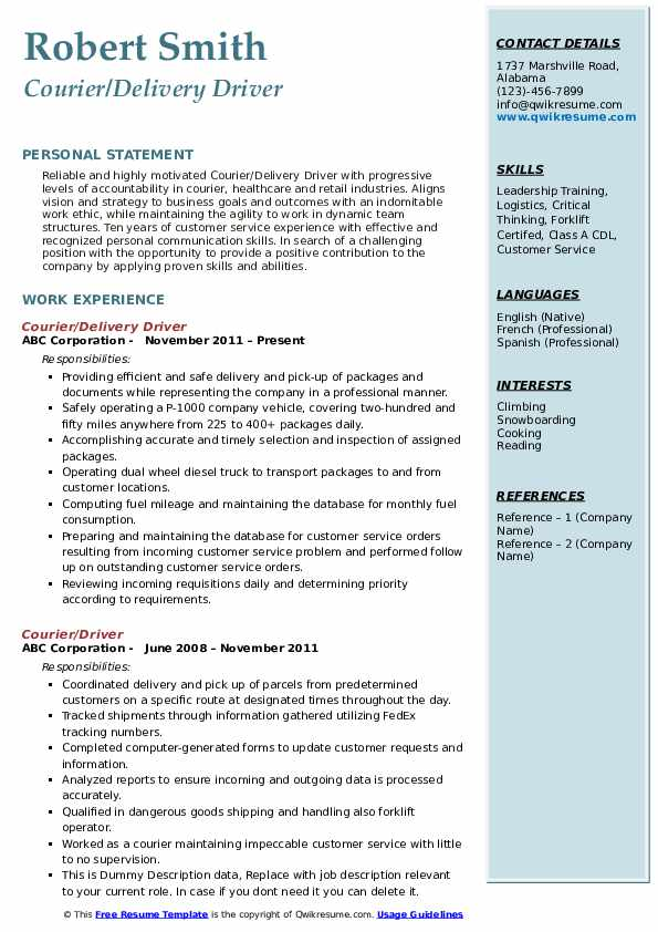 Courier/Delivery Driver Resume Format