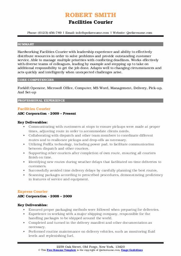 Facilities Courier Resume Template