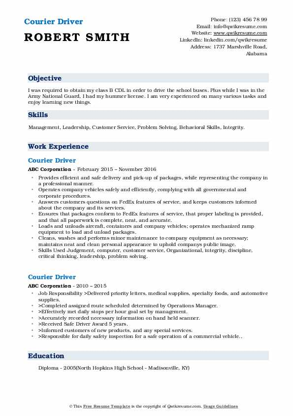 Courier Driver Resume Template