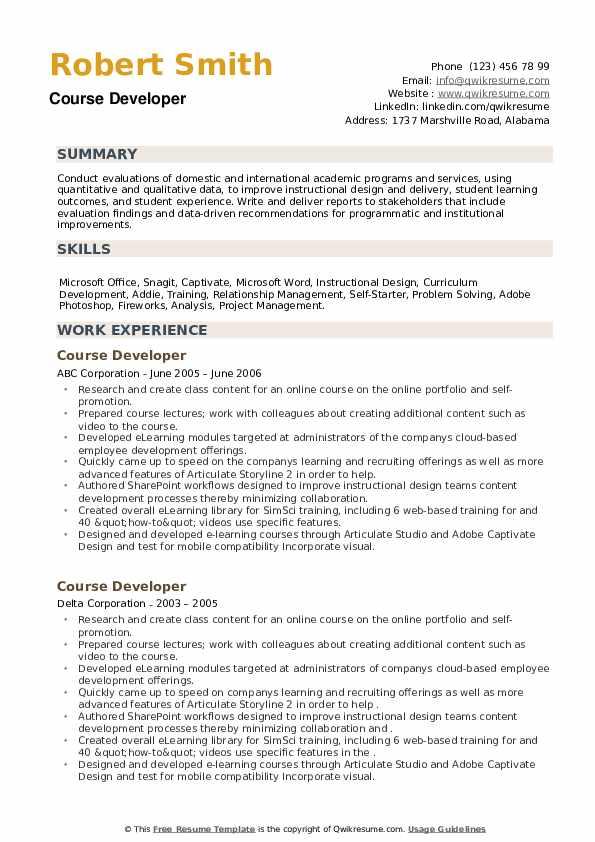 Course Developer Resume example