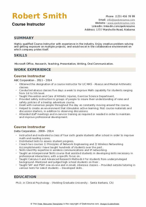 Course Instructor Resume example