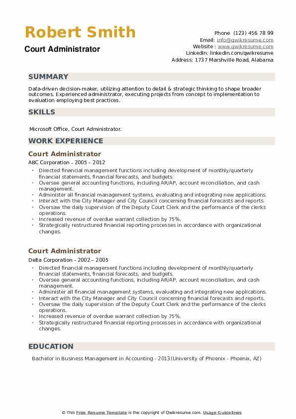 Court Administrator Resume example