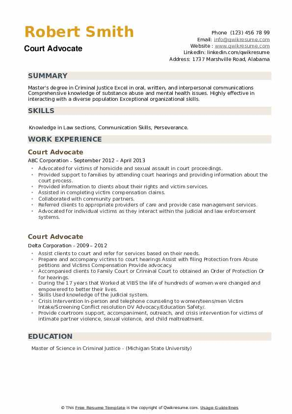 Court Advocate Resume example