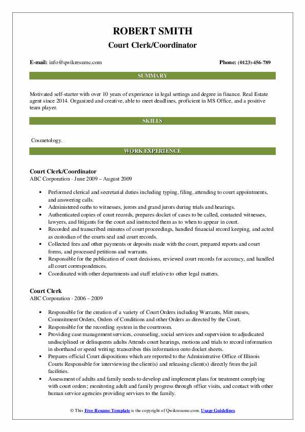 Court Clerk/Coordinator Resume Sample