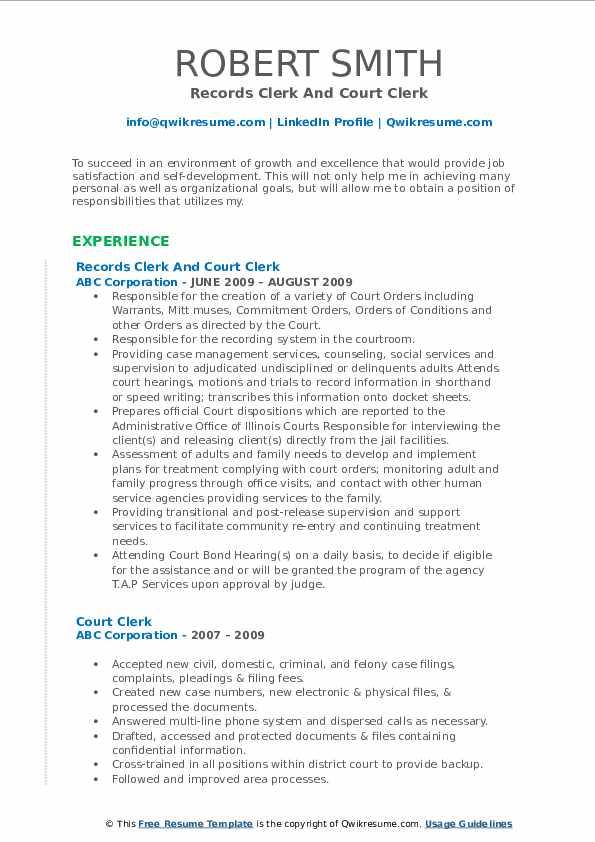Records Clerk And Court Clerk Resume Model