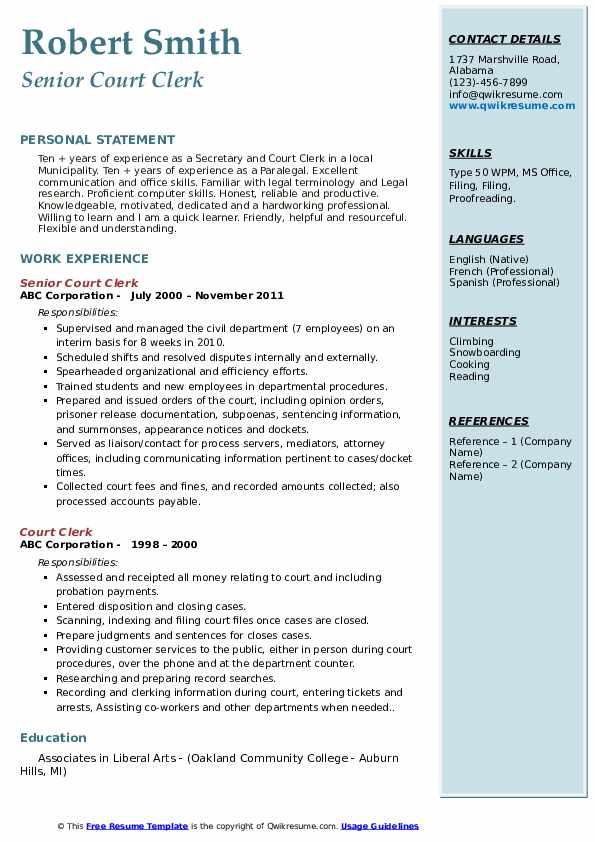 Court Clerk Resume Samples Qwikresume