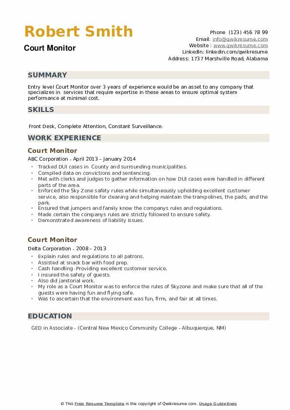 Court Monitor Resume example