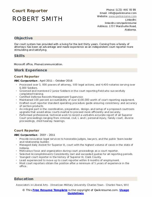 Court Reporter Resume Example