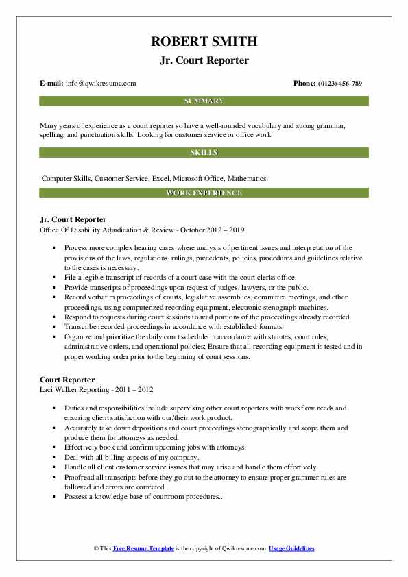 Jr. Court Reporter Resume Format