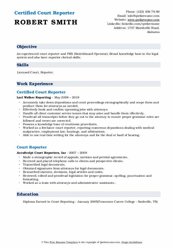 Certified Court Reporter Resume Example